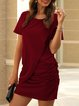 Casual Short Sleeve Solid Dresses