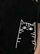 Vintage Short Sleeve Statement Cat Printed Plus Size Casual Tops