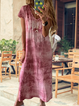 Summer Casual Cotton V Neck Tie Dye Maxi Dresses