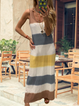 Plus Size Printed Striped O-Neck Maxi Dresses