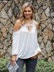 Off White Cold Shoulder Solid Shift V Neck Shirts & Tops