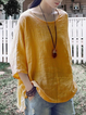 Cotton Solid Long Sleeve Blouse