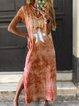 V Neck Cotton-Blend Short Sleeve Casual Dresses