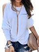 White Cold Shoulder Round Neck Shirts & Tops