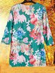 Plus Size Floral Print Vintage Women Blouses