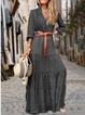 Polka Dots Casual Buttoned V-neck Long Sleeve Maxi Dress