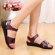 Pi Clue Cowhide Leather Low Heel Sandals
