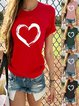 Vintage Short Sleeve Love Heart Printed Plus Size Casual Tops