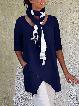 Pockets Half Sleeve Asymmetrical Casual Blouses