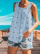 Polka Dots Cotton-Blend Sleeveless Shirts & Tops