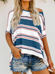 Plus size Half Sleeve Stripes Shirts & Tops