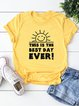 Vintage Short Sleeve Sun Letter Printed Plus Size Casual Tops