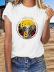 Vintage Short Sleeve Statement Elephant Floral Letter Printed Plus Size Casual Tops