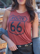 Letter Sleeveless Casual Shirts & Tops