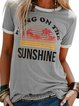 Short Sleeve Printed Cotton-Blend Round Neck Shirts & Tops