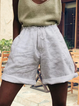 Solid Linen Women Shorts Pants