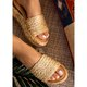 Pi Clue Apricot Beach Woven Material Block Heel Slippers