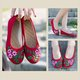 Hand-embroidered ethnic linen women's shoes