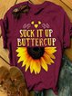 Vintage Short Sleeve Sunflower Letter Printed Plus Size Casual Tops
