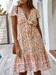 Bow Shift Frill Sleeve Holiday Dresses
