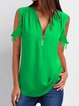 Zipper Bell Sleeve Casual Shirts & Tops
