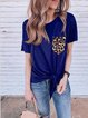 Casual simple summer leopard stitching short-sleeved T-shirt