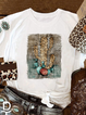 Printed Casual Short Sleeve Crew Neck Shirts & Tops
