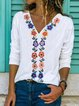 Cotton-Blend Long Sleeve Vintage Shift Shirts & Tops