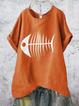 Casual Linen Half Sleeve Animal Shirts & Tops
