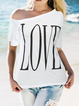 One Shoulder Letter Casual Shirts & Tops