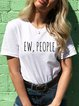 Vintage Short Sleeve Letter EW People Printed Plus Size Casual Tops