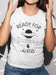Vintage Short Sleeve Statement Unidentified Flying Object Letter Printed Plus Size Casual Tops