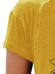 Yellow Cotton-Blend Round Neck Short Sleeve Shirts & Tops