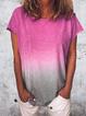 Plus Size Casual O-Neck Short Sleeve Women T-shirts