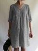 Cotton-Blend Shift V Neck Holiday Dresses