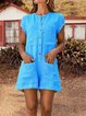 Summer Pockets Buttoned  Casual Rompers