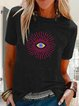 Plus Size Tribal Vintage Crew Neck Short Sleeve Shirts & Tops