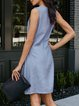 Blue Casual Crew Neck Dresses