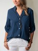 Casual Solid V Neck Long Sleeve Blouses