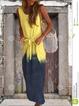 Sleeveless O-Neck Cotton Dresses