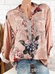 Long Sleeve V Neck Printed Casual Printed Blouses