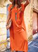 Casual Plain V-neck Short Sleeve Midi Dress