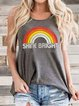 Gray Sleeveless Crew Neck Shirts & Tops