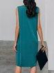 Blue Crew Neck Sleeveless Shift Solid Dresses