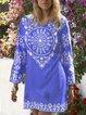 Boho Printed Cotton-Blend 3/4 Sleeve Dresses