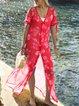 Geometric Printed Casual Loose Plus Size Chiffon Blouse Shirts dresses