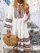 Red 3/4 Sleeve A-Line Cotton-Blend V Neck Dresses