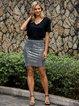 Silver Bodycon Sexy Skirts