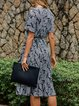 Black V Neck Houndstooth Short Sleeve Dresses