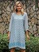 Blue Long Sleeve Boho Dresses